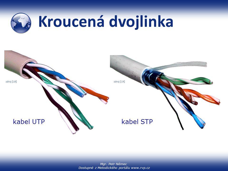 Kroucená dvojlinka zdroj [18] zdroj [19] kabel UTP kabel STP